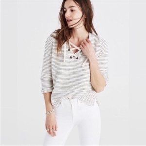 Madewell Striped Nautical Lace Up Knit Top